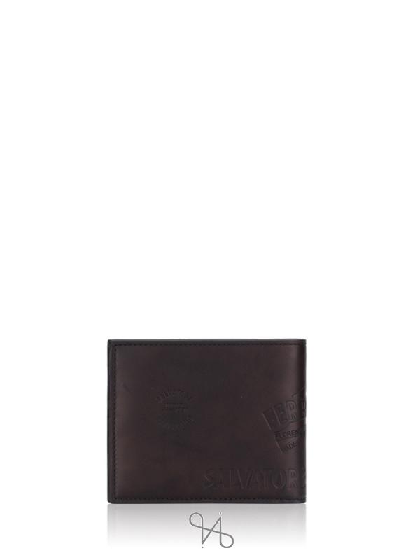 SALVATORE FERRAGAMO Men Bifold Leather Wallet Black