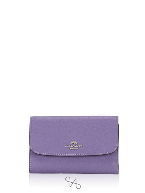 COACH 30204 Pebbled Leather Medium Envelope Wallet Light Purple