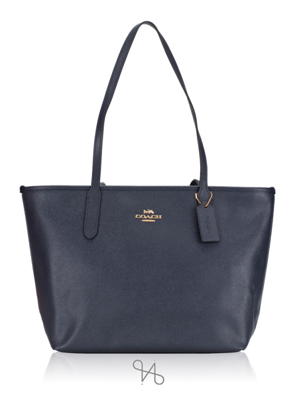 COACH 83857 Crossgrain Leather Zip Tote Midnight