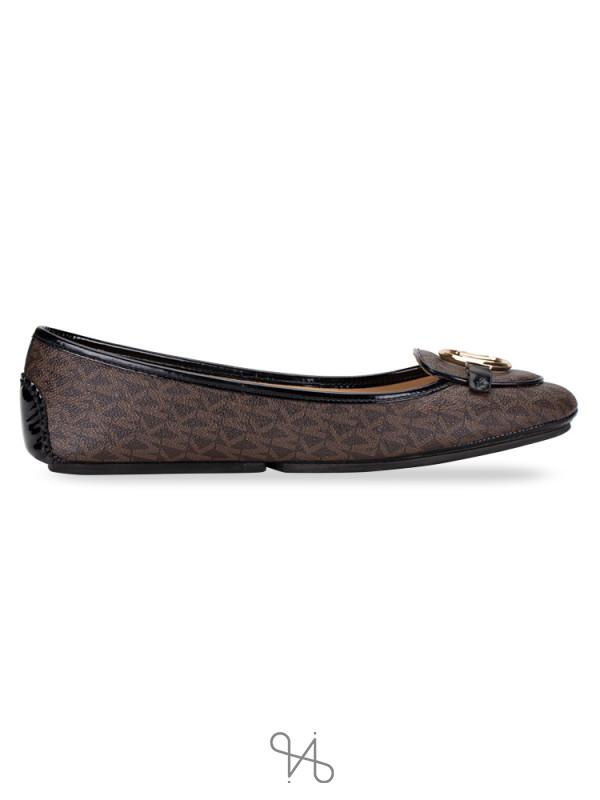 MICHAEL KORS Lillie Signature Flats Brown Black Sz 11