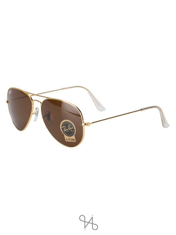 RAY-BAN RB3025 Classic Aviator Sunglasses Brown Gold