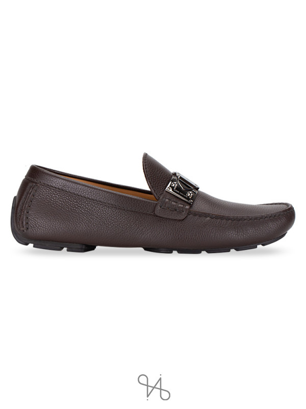 LOUIS VUITTON Men Racetrack Leather Loafers Brown Sz 8