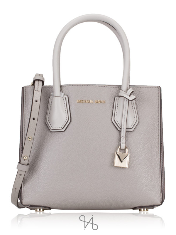 MICHAEL KORS Mercer Accordion Medium Messenger Pearl Grey