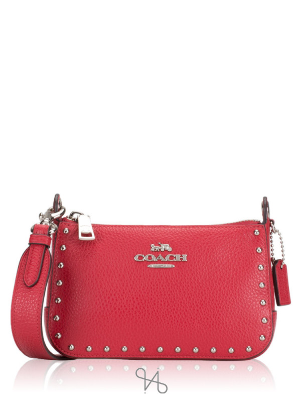 COACH 76788 Jes Rivets Crossbody Bright Cardinal