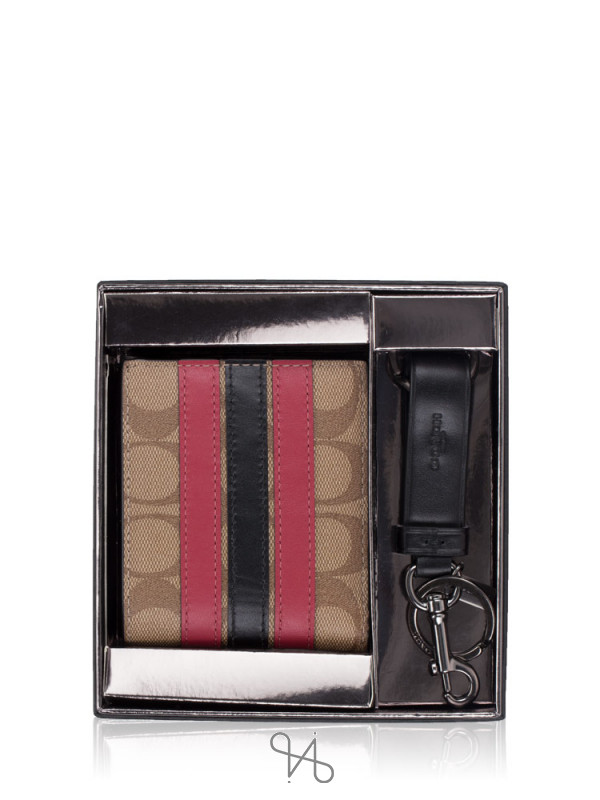 COACH Men 86110 Signature Boxed Id Billfold Fob Wallet Tan Multi
