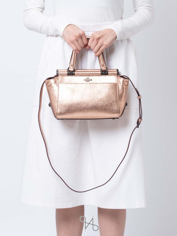 COACH 31709 Metallic Grace 20 Satchel Metallic Rose Gold