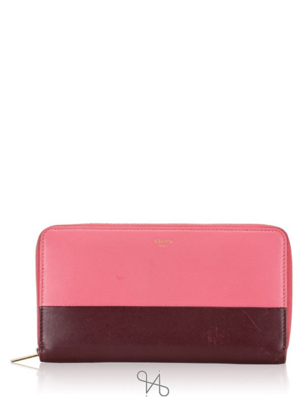CELINE Bi-color Leather Zip Wallet Bordeaux Pink Rust