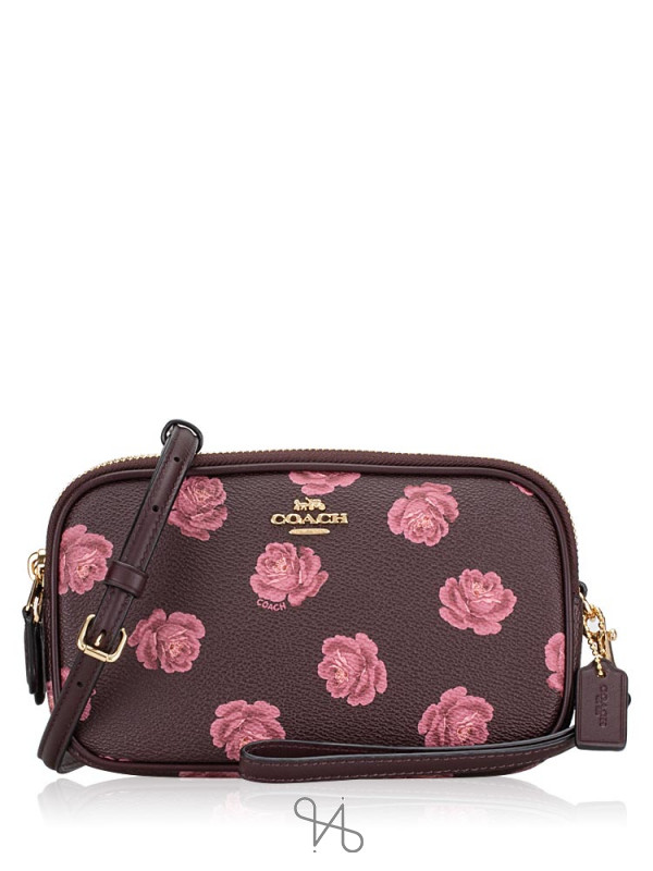 COACH 31826 Sadie Rose Print Crossbody Clutch Oxblood