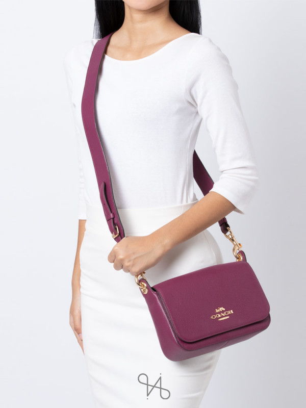 COACH 76698 Jess Leather Small Messenger Dark Berry