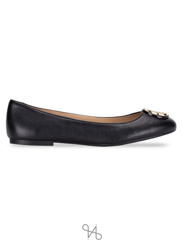 TORY BURCH Claire Tumbled Leather Flats Black Sz 11