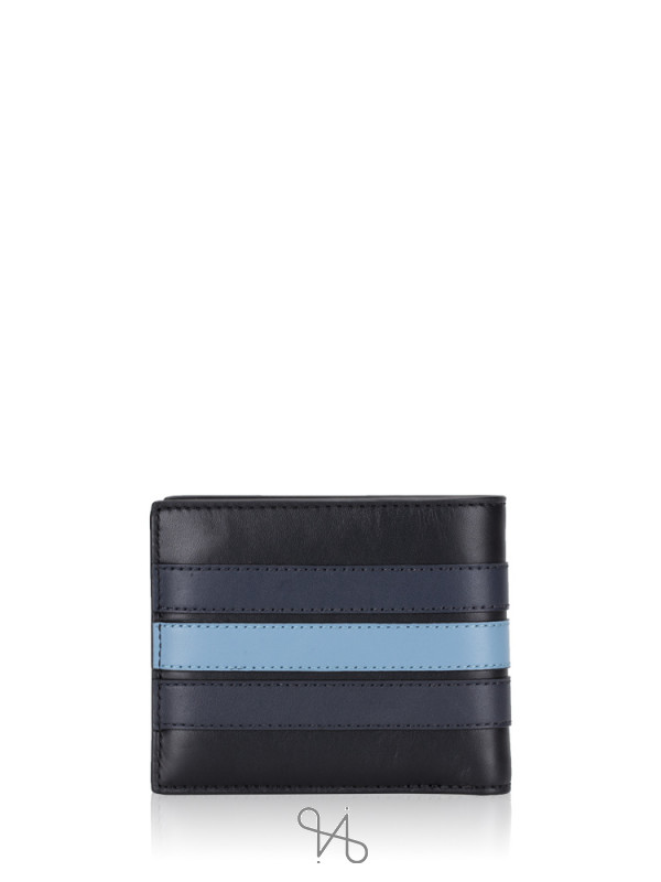 COACH Men 76947 3 N 1 Sporty Baseball Stitch Wallet Black Navy Washed Blue