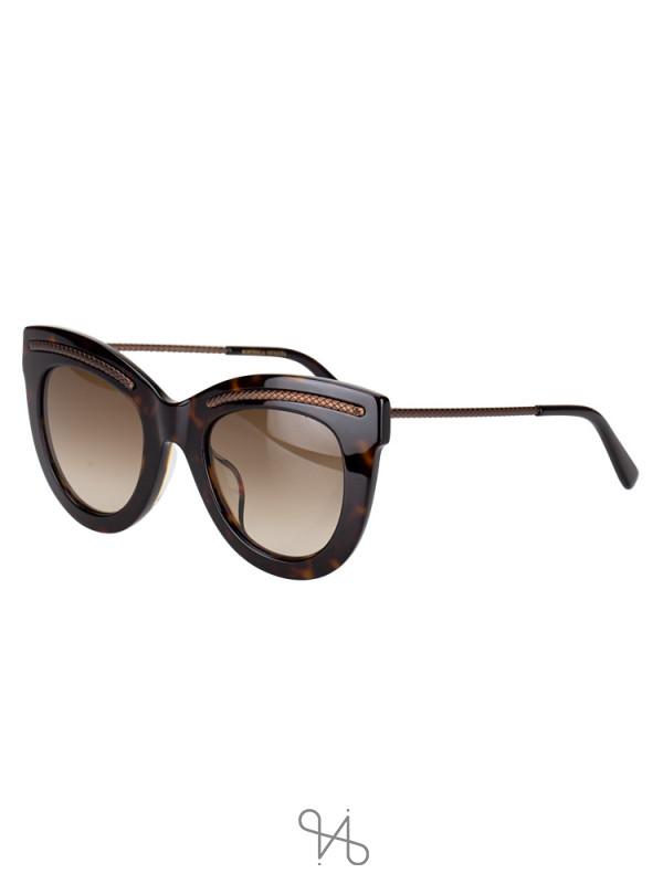 BOTTEGA VENETA BV0030SA Cat Eye Sunglasses Black