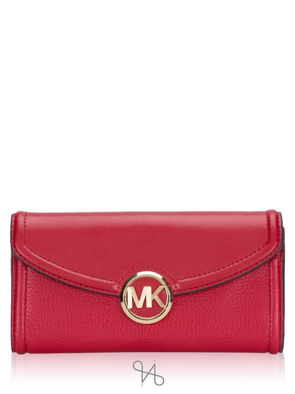 MICHAEL KORS Fulton Leather Large Flap Continental Wallet Scarlet