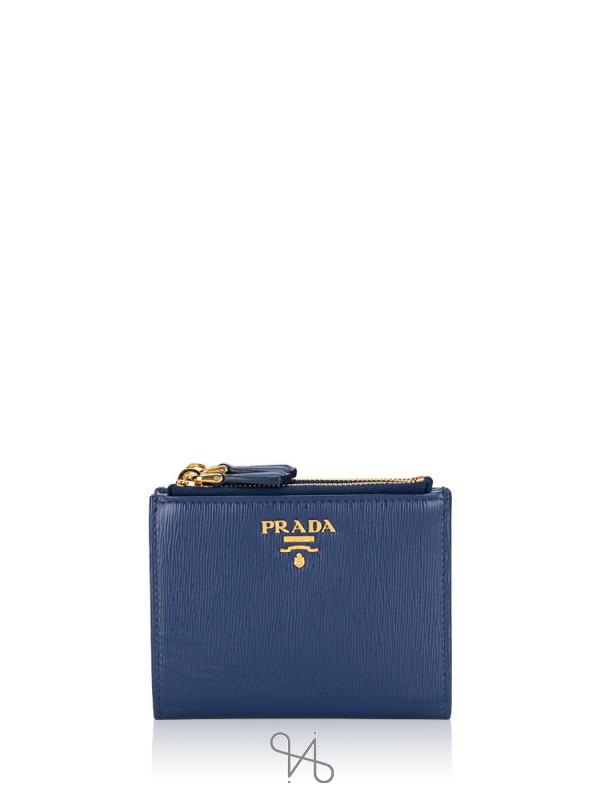 PRADA 1ML024 Vitello Move Small Wallet Bluette Mare