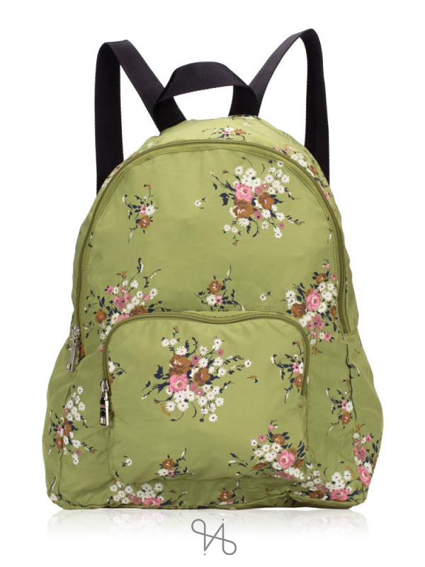COACH 27977 Floral Packable Nylon Backpack Yellow Green Multi