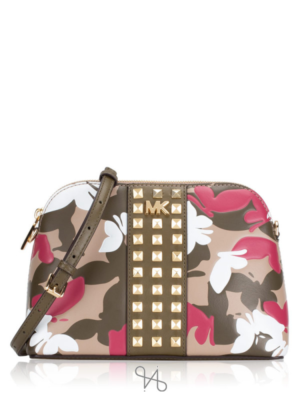 MICHAEL KORS Butterfly Camo Large Dome Crossbody Olive Multi