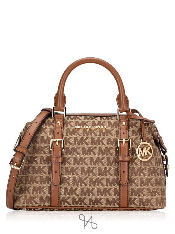 MICHAEL KORS Ginger Monogram Small Duffle Beige Ebony Luggage