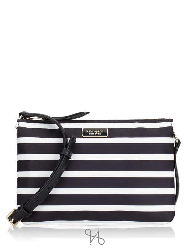 KATE SPADE Dawn Sailing Stripe Triple Gusset Crossbody Black Multi