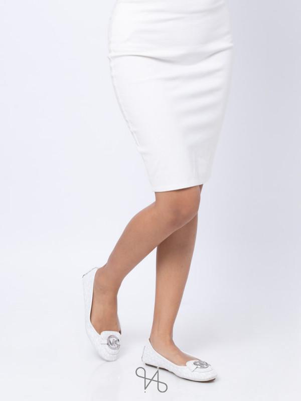 MICHAEL KORS Lillie Signature Flats White Sz 8