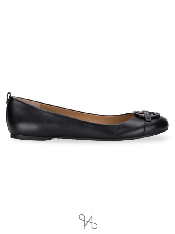 TORY BURCH Gabriel Leather Ballet Flat Black Sz 10.5