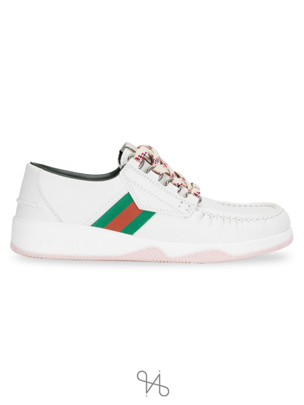 GUCCI Men Leather Lace Up Shoe White Sz 8