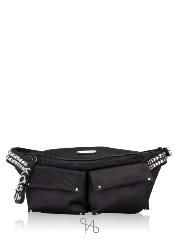 MICHAEL KORS Olivia Studded Satin Large Waistpack Black