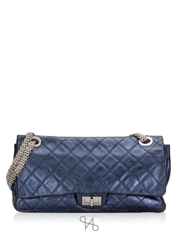 CHANEL 2.55 Reissue 228 Flap Bag Metallic Blue