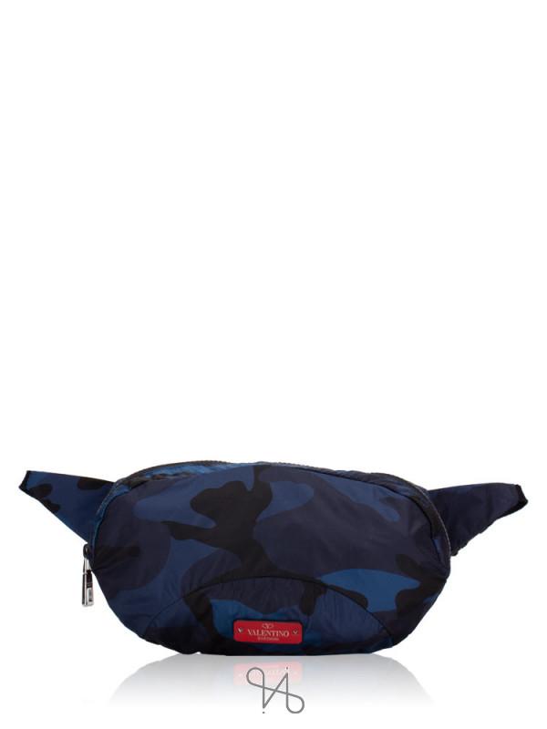 VALENTINO GARAVANI Camouflage Nylon Fanny Pack Navy Black