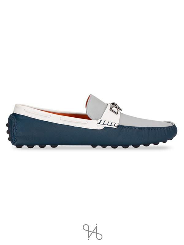 HERMES Men Epsom Irving Loafers Bleu Glacier Blanco Colvert Sz 45.5