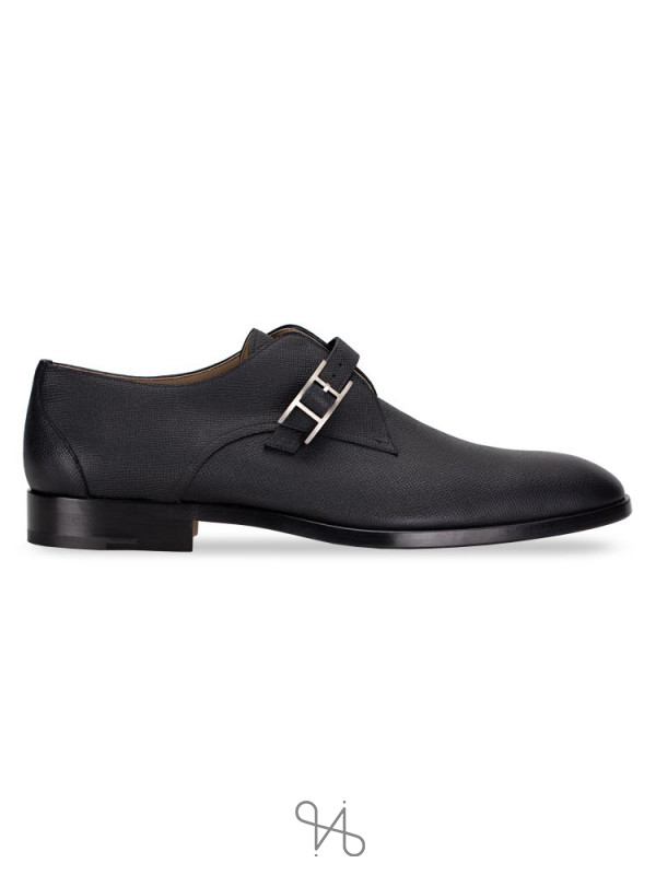 HERMES Men Epsom Norris Derby Shoes Black Sz 46