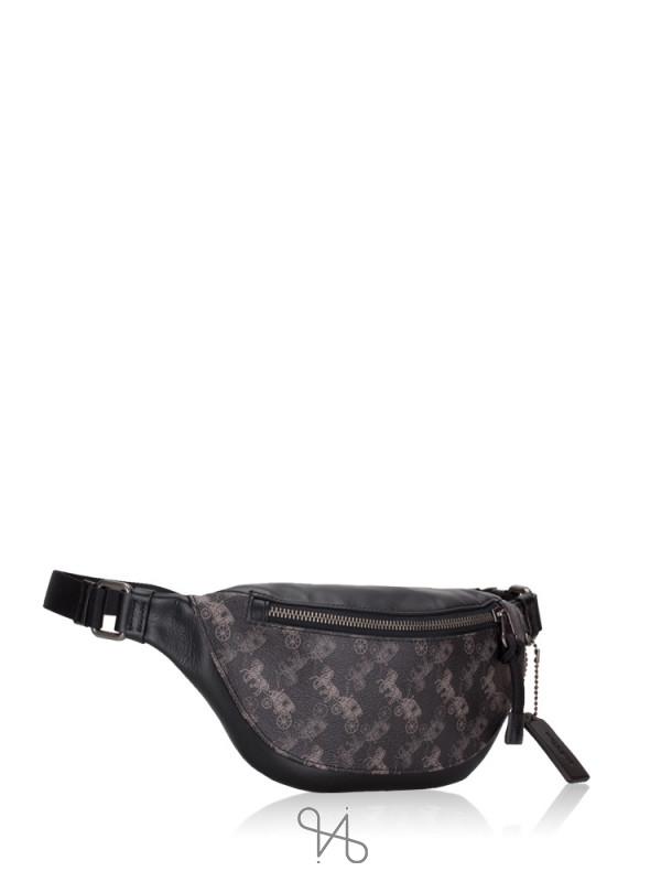 COACH 83411 Horse Carriage Print Warren Mini Belt Bag Black