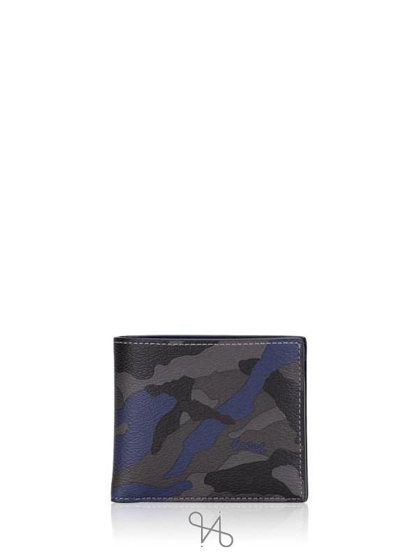 COACH Men 88912 Signature Camo Billfold Key Fob Wallet Blue Multi