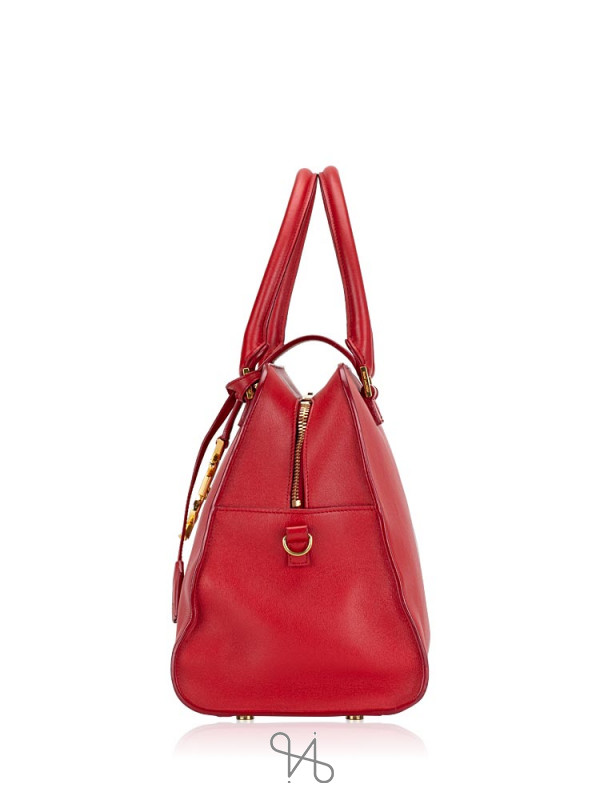 YSL Medium Monogram Cabas Red