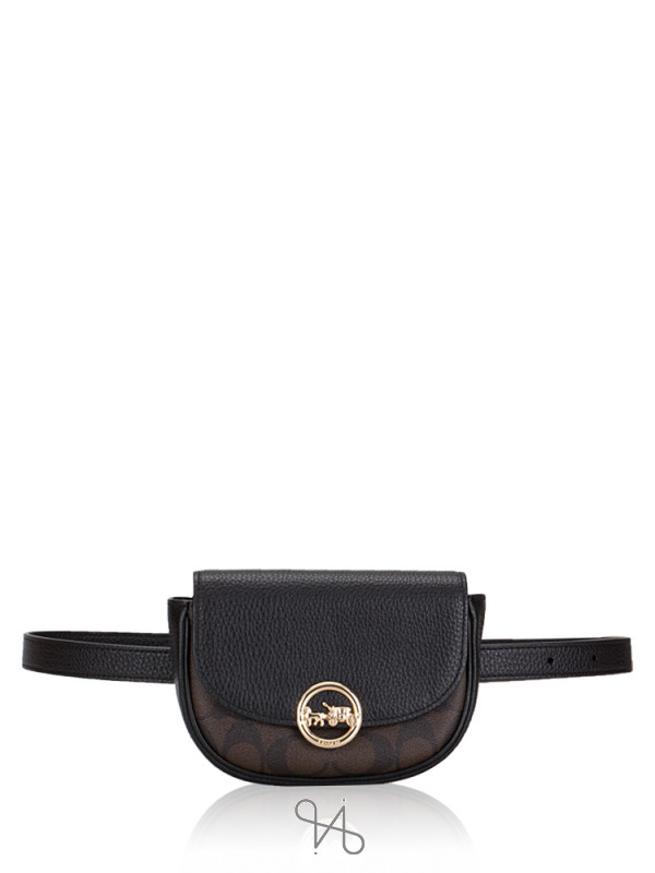 COACH 88007 Signature Jade Mini Belt Bag Brown Black
