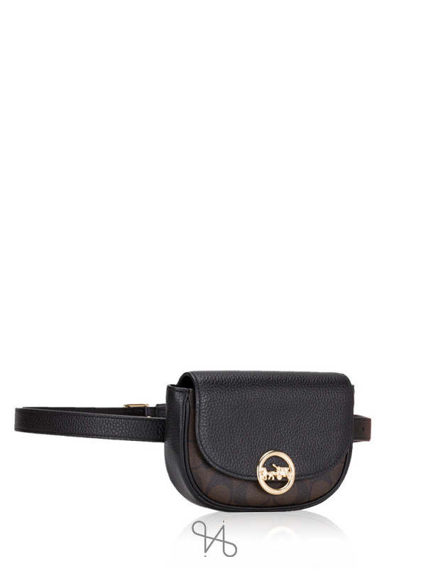 COACH 88007 Signature Jade Mini Belt Bag Brown Black