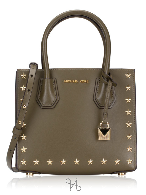MICHAEL KORS Mercer Stud & Grommet Medium Messenger Olive