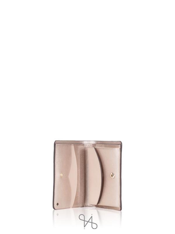 KATE SPADE Nadine Small Bifold Wallet Metallic Blush