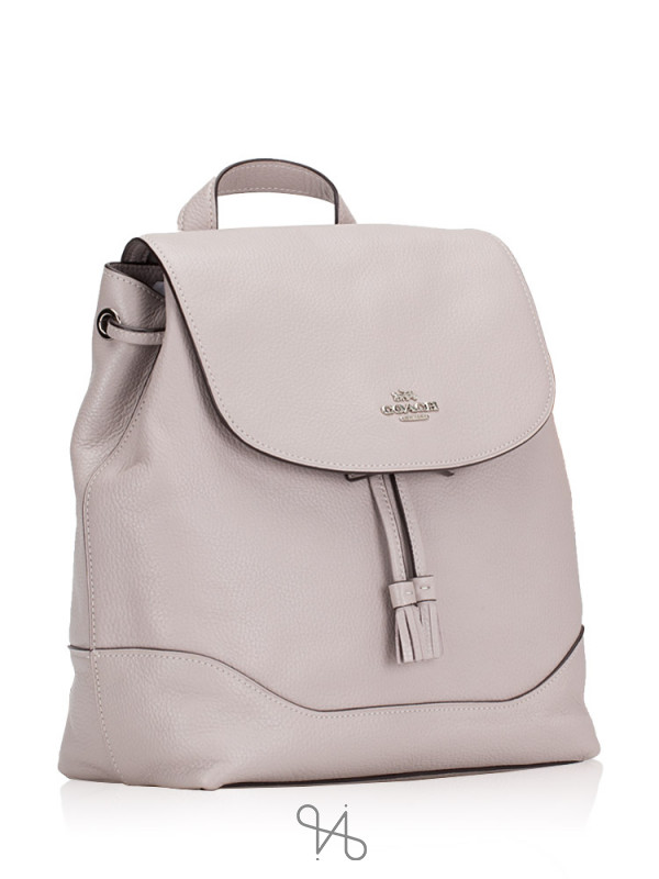 COACH 72645 Elle Leather Backpack Grey Birch
