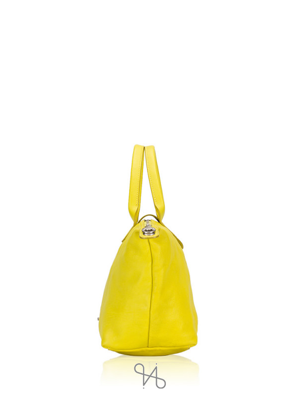LONGCHAMP Le Pliage Cuir Small SH Lemon