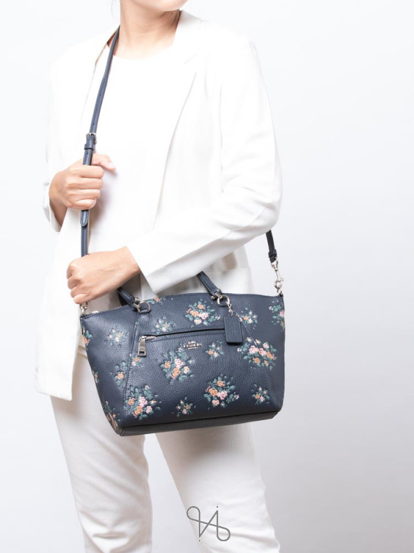 COACH 91603 Rose Bouquet Print Prairie Satchel Midnight Multi