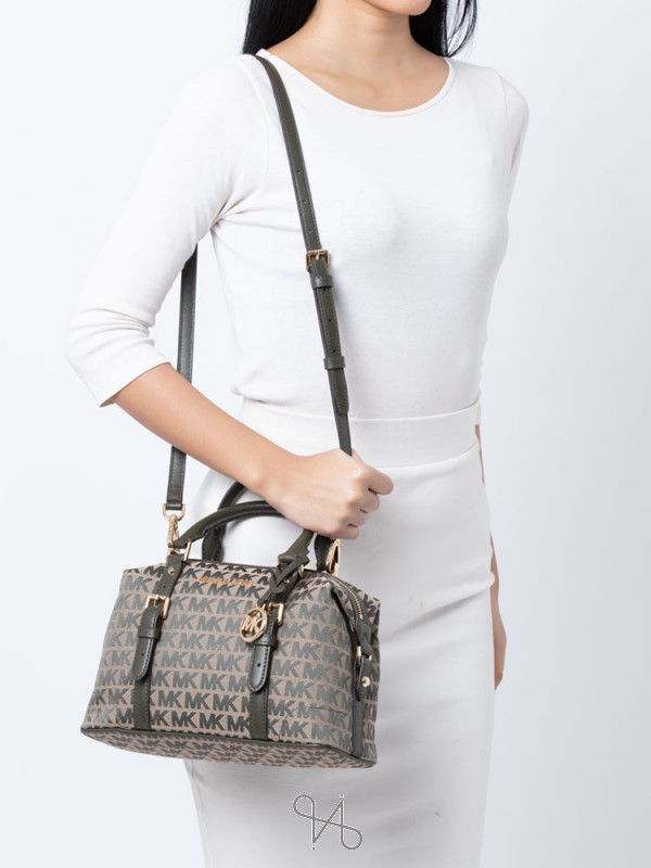 MICHAEL KORS Ginger Monogram Small Duffle Satchel Ivy Multi
