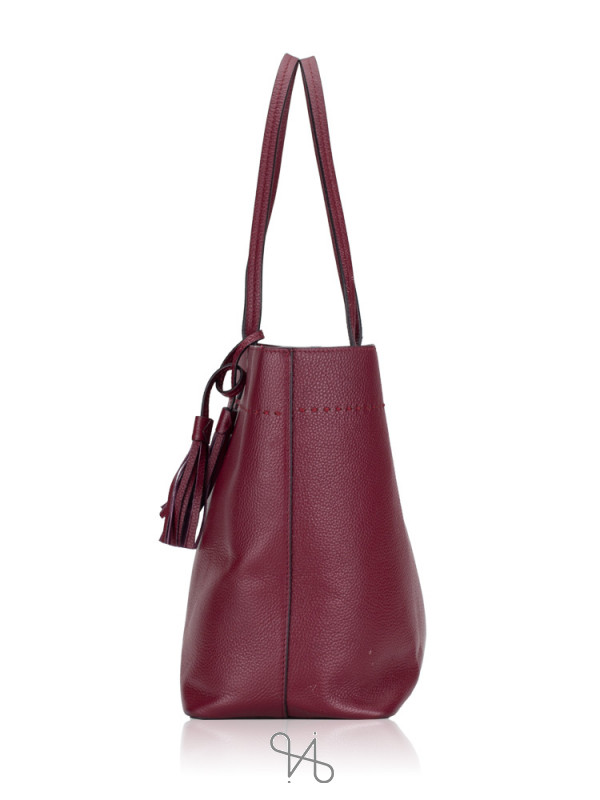 TORY BURCH McGraw Leather Tote Imperial Garnet