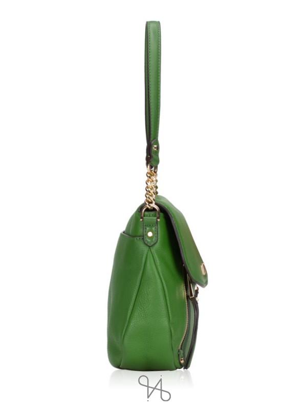 MICHAEL KORS Evie Leather Shoulder Flap True Green