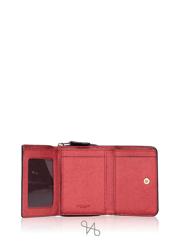 COACH 37968 Crossgrain Small Trifold Wallet Metallic Currant Oxblood
