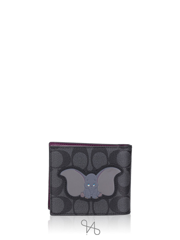 COACH Men 91654 3 in 1 Signature Disney Dumbo Wallet Charcoal Plum Multi