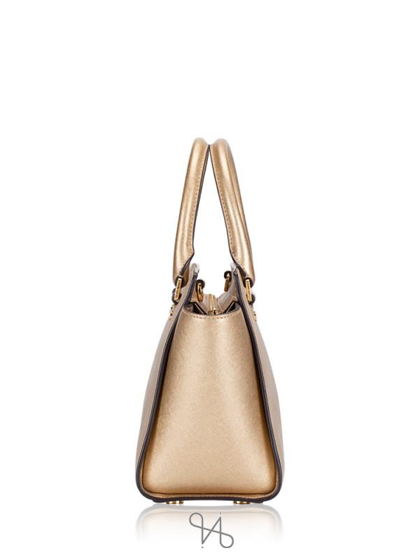 MICHAEL KORS Selma Medium Leather Satchel Pale Gold