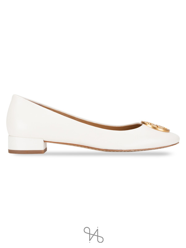 TORY BURCH Chelsea Heeled Flat Perfect Ivory Sz 6