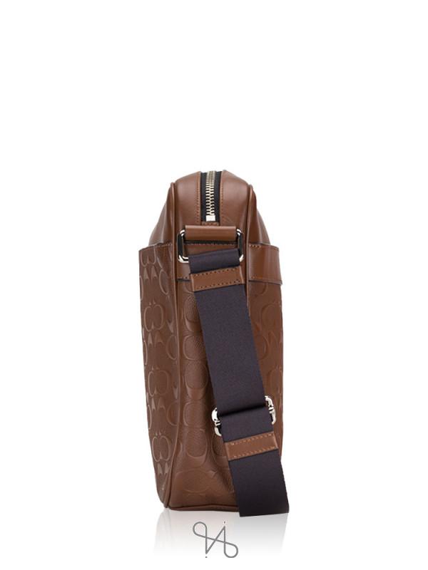 COACH Men 24868 Signature Crossgrain Flight Bag Saddle