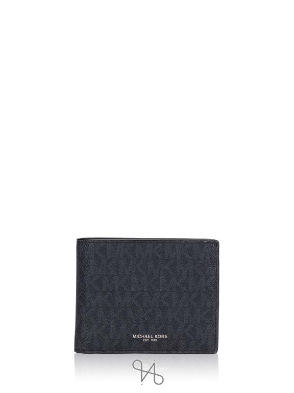 MICHAEL KORS Men Signature Cooper Billfold Passcase Wallet Black