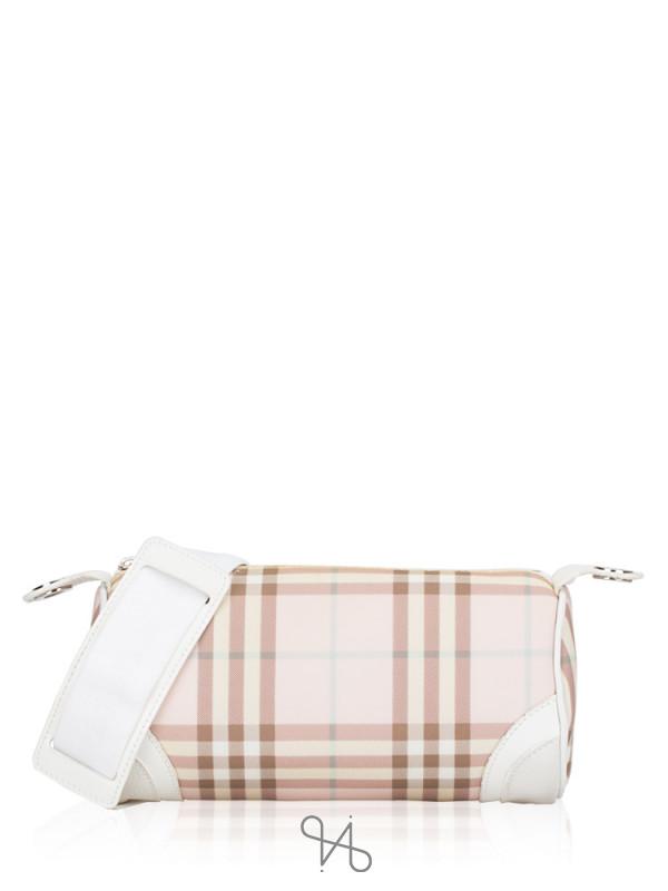 BURBERRY Nova Check Lola Barrel Bag Pink White